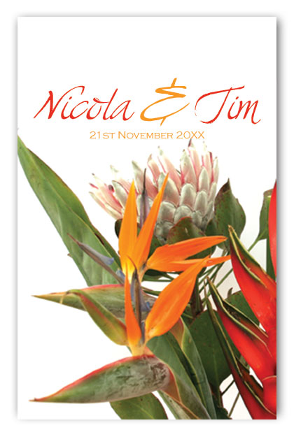 Exotic bouquet wedding invitation