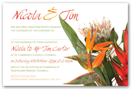 Exotic Flower Bouquet invitation  Postcard