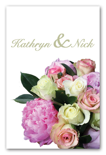 Peony and rose bouquet wedding invitation