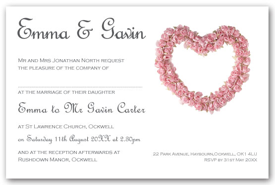 Pale pink rose heart invitation  postcard