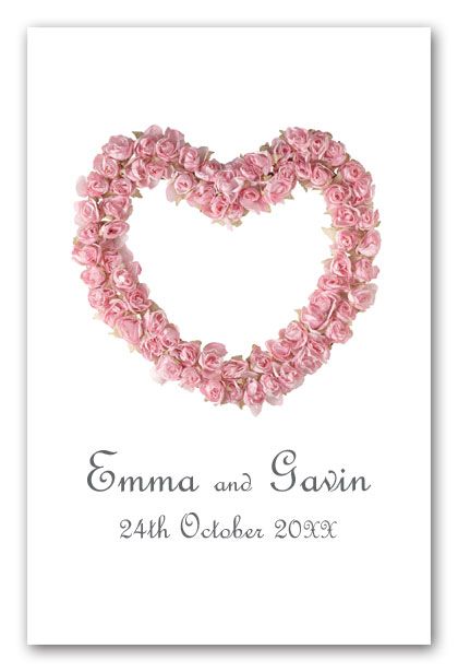 Pale pink rose heart wedding invitation