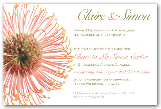 Protea invitation postcard