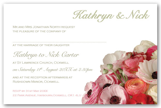 Bright Ranunculus Invitation Postcard