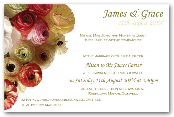 Ranunculus Wedding Invitation Postcard