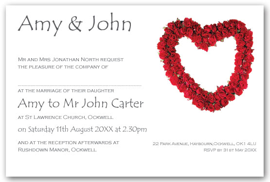 Red rose heart wedding invitation postcard