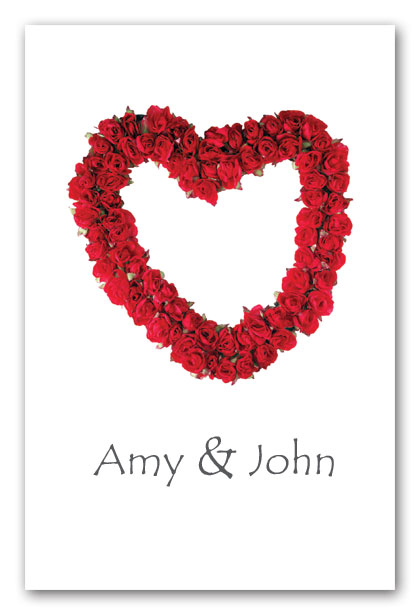 Red rose heart wedding invitation