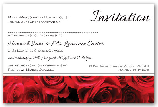 Red roses  invitation postcard