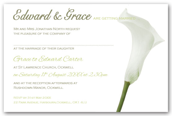 White calla lily invitation postcard