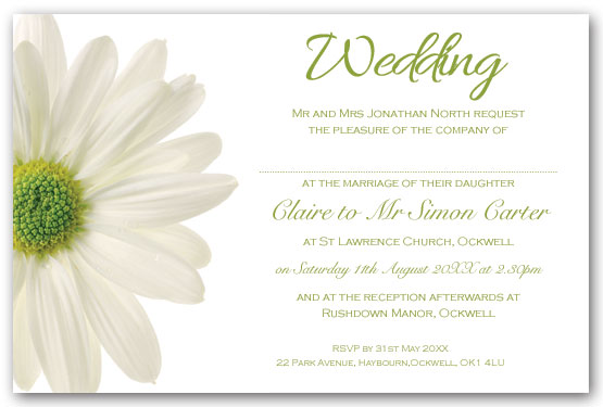 White Daisy invitation. postcard