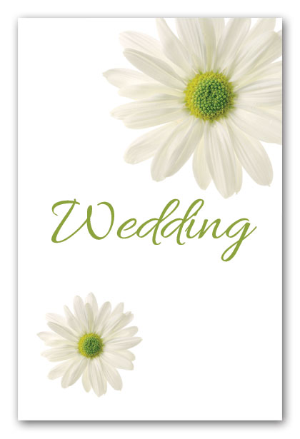 White Daisy wedding invitation.