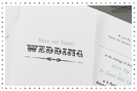 Letterpress style wedding invitation
