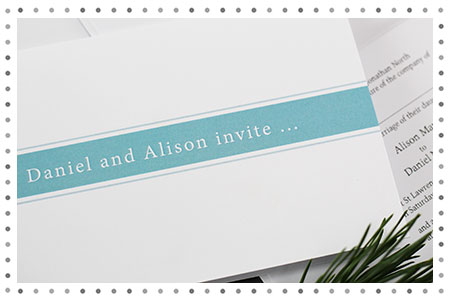 colour block strip wedding invitation