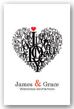 Love heart wedding invitation