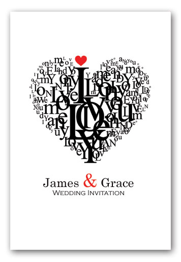 Rome love heart wedding invitation