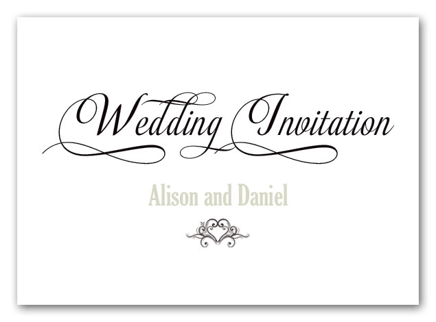 Turin calligraphy style wedding invitation