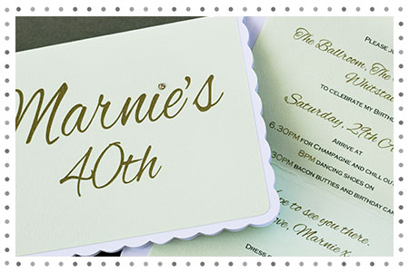 40th party invitation with a diamante