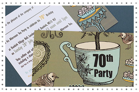 70th Afternoon Tea Party Invitation