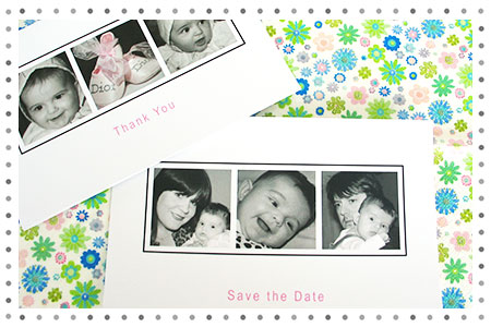 Save the Date Christening Postcard and Thank you Card