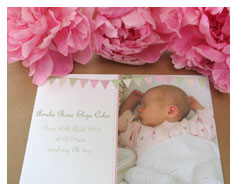Baby arrival Thank you cards from Millbank and Kent