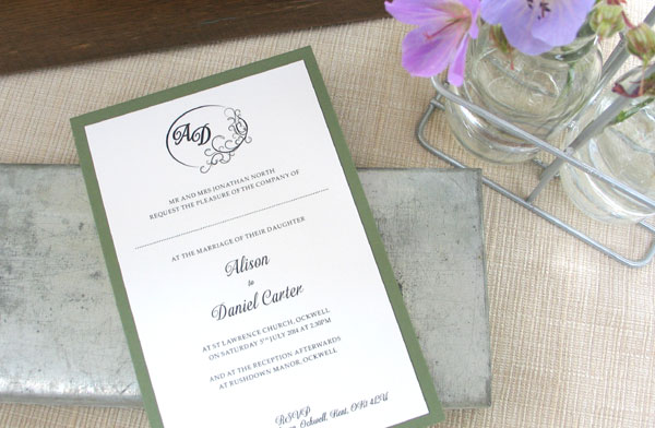Didier wedding invitation from Millbank and Kent Contemporary wedding stationery
