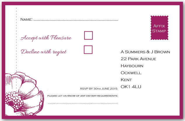 Contemporary Rose Perforated Reply Card