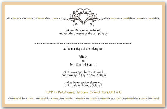 Heart names wedding invitation