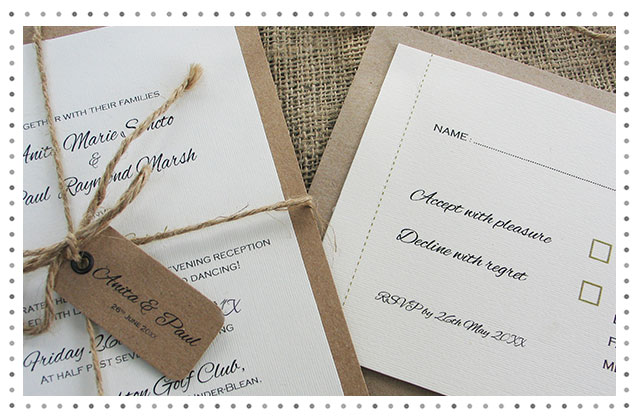 Antoine Twine and Kraft Wedding Invitation