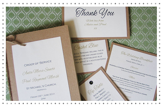 Antoine Twine and Kraft Wedding Stationery