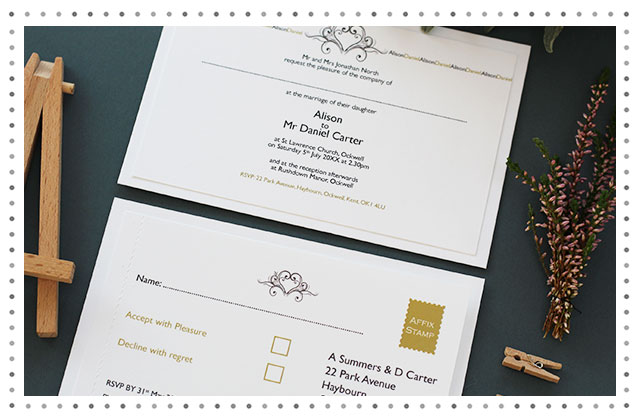 Fredric Heart Named Border Wedding Stationery