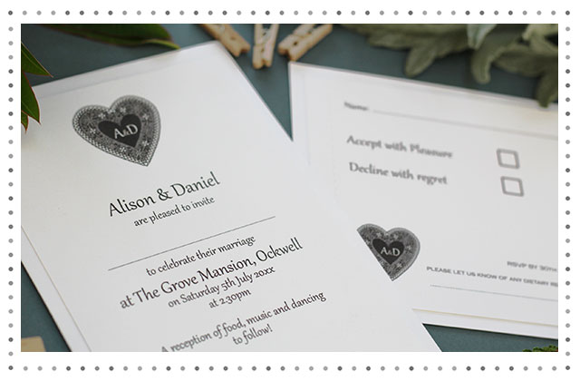 Jacques Lace Heart Wedding Stationery