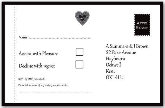 Lace Heart perforated reply card