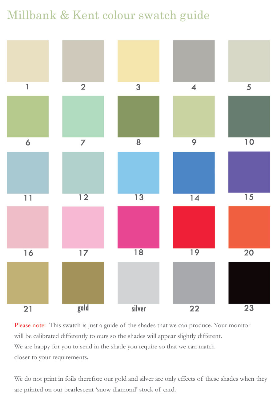 Colour guide for your stationery